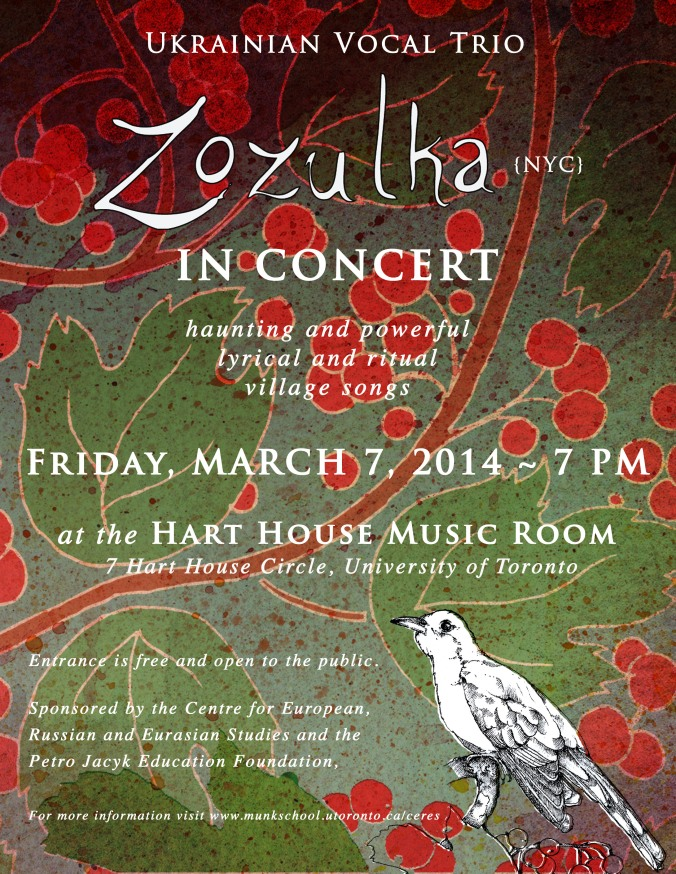 Zozulka in Concert at the University of Toronto: March 7, 2014 at 7 PM